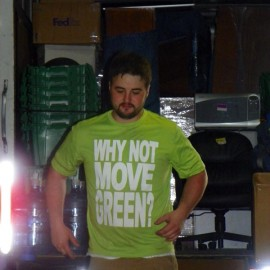 Inside Green moving truck